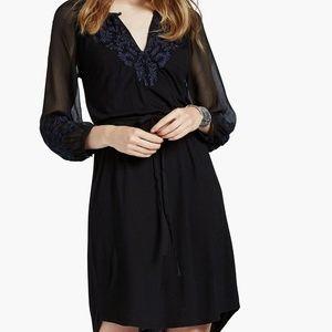 Lucky Brand Black/Navy Blue Embroidered Knit Dress
